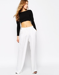 Mango Pleated Wide Leg Trouser White