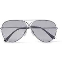 Tom Ford Private Collection Aviator Style Silver Tone Photochromic Sunglasses Silver