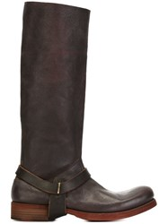 Ma Buckle Detail Knee Boots Brown