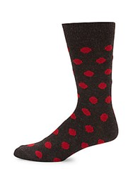Saks Fifth Avenue Cashmere Blend Dotted Socks Red