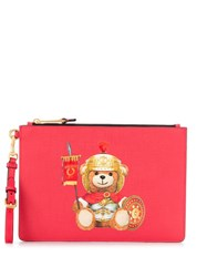Moschino Teddy Print Clutch Red