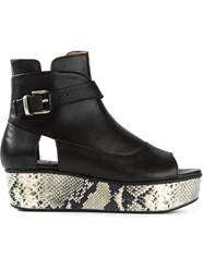 Thakoon Addition Snake Effect Platform Sandals Black