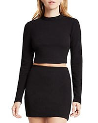 Bcbgeneration Long Sleeve Crop Top Black