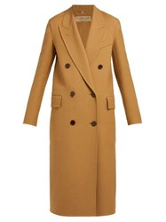 Burberry Theydon Double Breasted Wool Blend Coat Camel