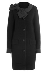 Boutique Moschino Wool Coat With Bow Black