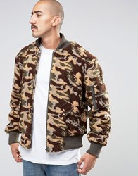 The New County Camo Teddy Bomber Jacket Khaki Green