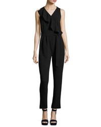 Neiman Marcus Asymmetric Ruffle Belted Jumpsuit Black