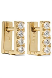 Ileana Makri Mini Square 18 Karat Gold Diamond Earrings