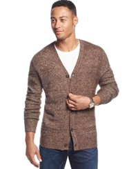 Club Room Allover Textured Farisle Cardigan Only At Macy's Raw Brown