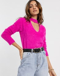 River Island Fluffy Sweater With Choker Detail In Pink