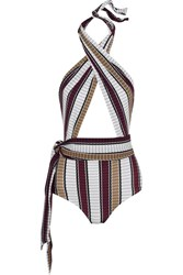 Karla Colletto Palazzo Striped Wrap Swimsuit Burgundy