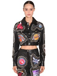 Jeremy Scott Studs And Patches Cropped Leather Jacket Black