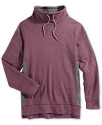 Retrofit Men's Geo Quilted Funnel Neck Sweatshirt Burgundy Heather