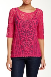 Laundry By Shelli Segal Embroidered Mesh Blouse Pink
