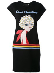 Love Moschino Logo Print T Shirt Dress Women Cotton Spandex Elastane 44 Black