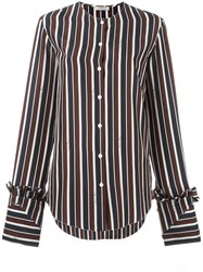 Nina Ricci Striped Collarless Blouse Nude Neutrals