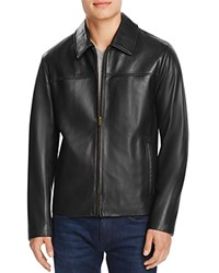 Cole Haan Leather Shirt Jacket Black