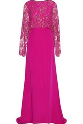 Reem Acra Layered Sequin Embellished Lace And Silk Cady Gown Bright Pink