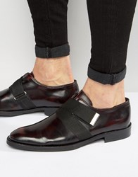 Asos Oxford Shoes In Burgundy Leather With Strap Detail Burgundy Red