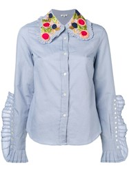 Manoush Knife Pleats Embellished Collar Shirt Blue