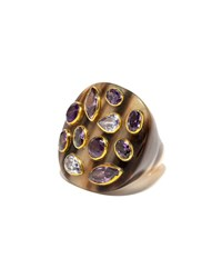 Ashley Pittman Mixed Horn Flat Top Ring W Stones Purple
