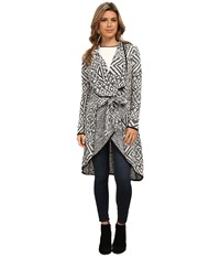 Michael Stars Geo Jacquard Long Sleeve Cardigan Black White Women's Sweater