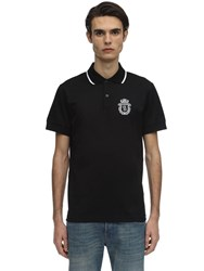 Billionaire Crest Embroidered Cotton Jersey Polo Black