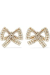 Rebecca De Ravenel Tie Me Up Gold Plated Crystal Clip Earrings One Size
