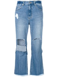 Sjyp Ripped Cropped Jeans Women Cotton Xs Blue