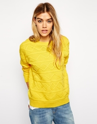Asos Jumper With Horizontal Cable Knit Yellow