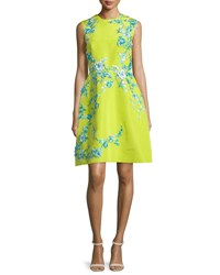 Monique Lhuillier Sleeveless Embellished Faille Cocktail Dress Chartreuse
