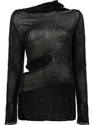 Masnada Asymmetric Cut Out Detail Knitted Top Black