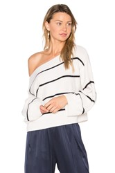 Vince Stripe Cold Shoulder Sweater Black And White