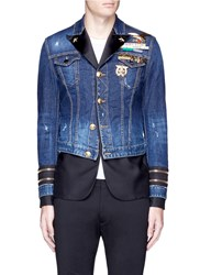 Dsquared Blazer Underlay Denim Military Jacket Blue Multi Colour