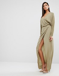 Aq Aq Aqaq Marvey Drape Maxi Dress Dusky Green