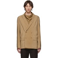 Christophe Lemaire Tan Dry Silk Double Breasted Blazer