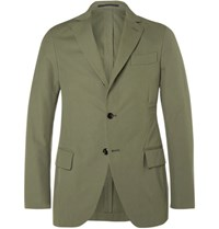 Massimo Piombo Mp Green Slim Fit Woven Cotton Suit Jacket Army Green