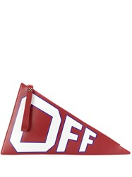 Off White Logo Print Flag Shaped Clutch Red