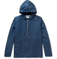 Norse Projects Frank Cotton Hooded Half Zip Jacket Navy