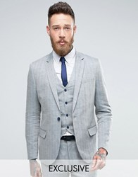 Only And Sons Skinny Suit Jacket In Herringbone Blue