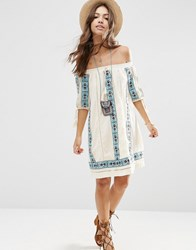 Asos Premium Off Shoulder Swing Dress With Aztec Embroidery Cream