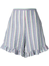 See By Chloe Striped Ruffle Trim Shorts