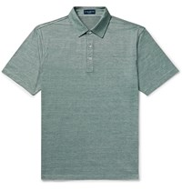 Peter Millar Excursionist Flex Space Dyed Stretch Cotton And Modal Blend Polo Shirt Green