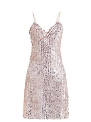 Ashish Sequin Embellished Sheer Slip Dress Beige