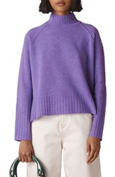 Whistles Funnel Neck Merino Wool Sweater Lilac