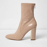 River Island Womens Blush Pink Patent Look Ankle Boot