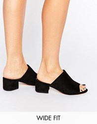 Truffle Collection Wide Fit Mid Heel Mule Black Micro