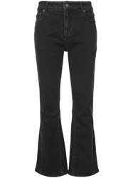 Julien David Cropped Flared Jeans Black