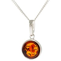 Be Jewelled Sterling Silver Geometric Cut Round Pendant Necklace Cognac