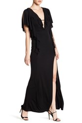Abs By Allen Schwartz Matte Jersey Draped Ruffle Gown Black